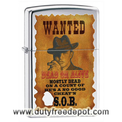 Zippo 28289 Classic High Polish Chrome Dead Or Alive Wanted Poster Windproof